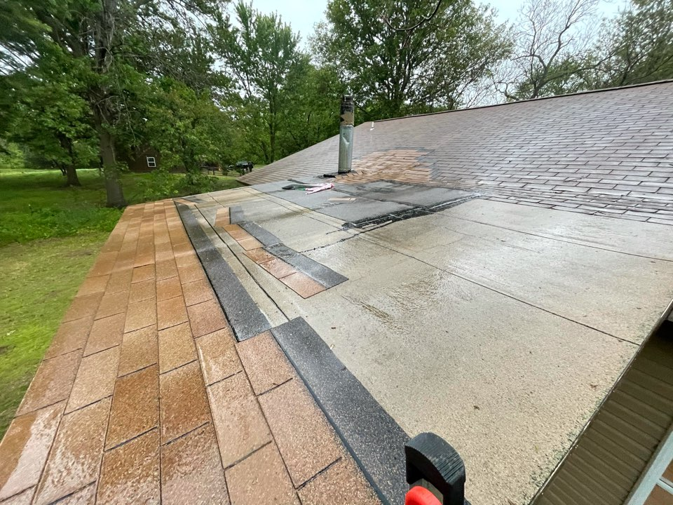 "Bixby, OK - Roof inspection in mounds. Look at this horrible patch job! Call Arrowhead to fix these types of ""fixes""! 918-743-9257"