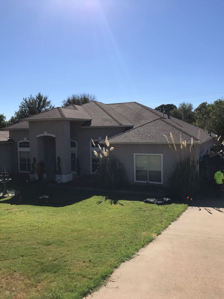 Tulsa, OK - We just completed a new roof replacement in Tulsa. It was a complete tear off and we installed GAF Timberline Natural shingles in Weather Wood color. We installed new flashings and a new ventilation system. If you need a reliable roofing contractor call Arrowhead Roofing today