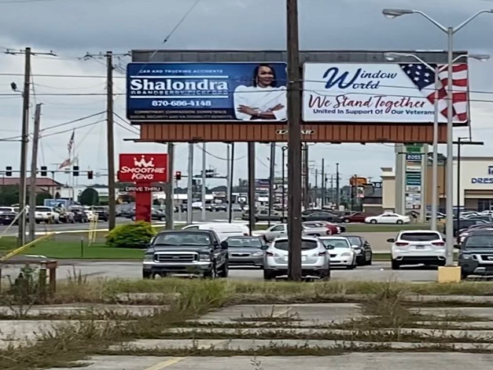 Jonesboro, AR - In Jonesboro AR for a veterans disability hearing. Had to stop by and check out our billboard. Pickford Law. We Take Good Care of You!