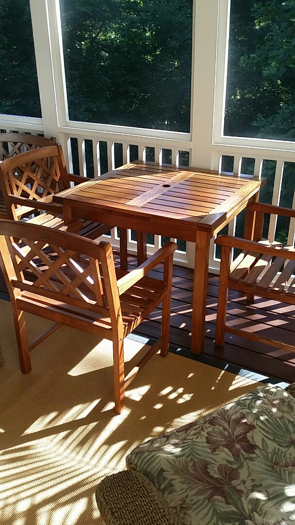 Holly Springs, NC - Refinish teak table and chairs