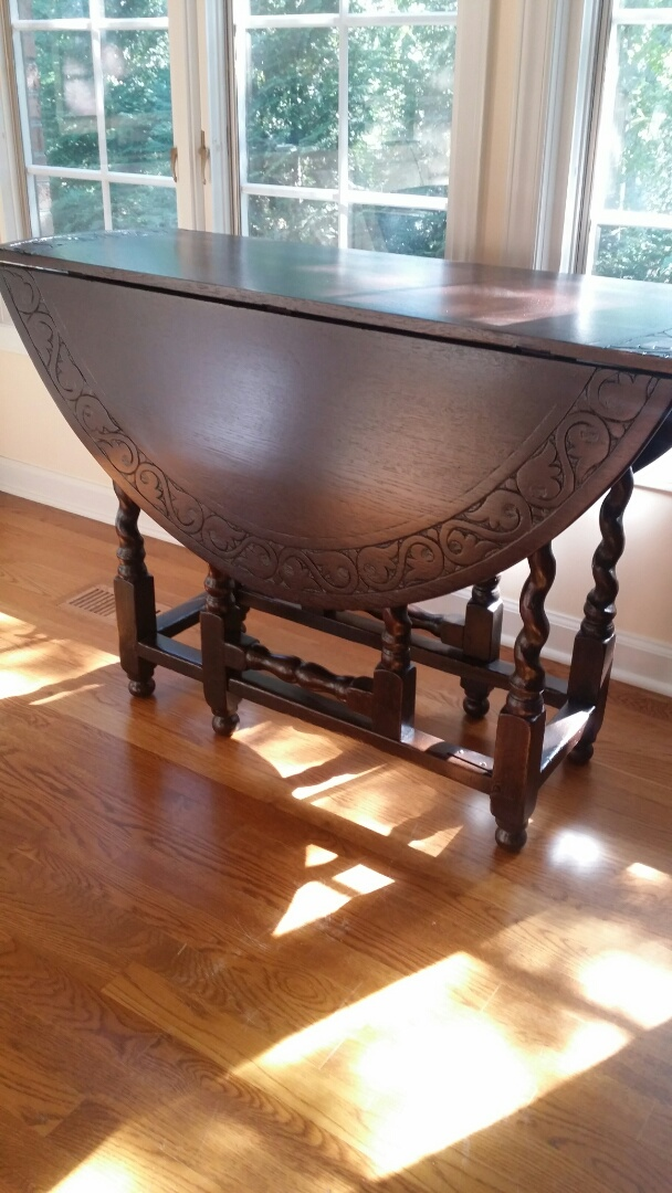 Pinehurst, NC - Furniture Refinisher:  Refinished drop-side gate leg table.