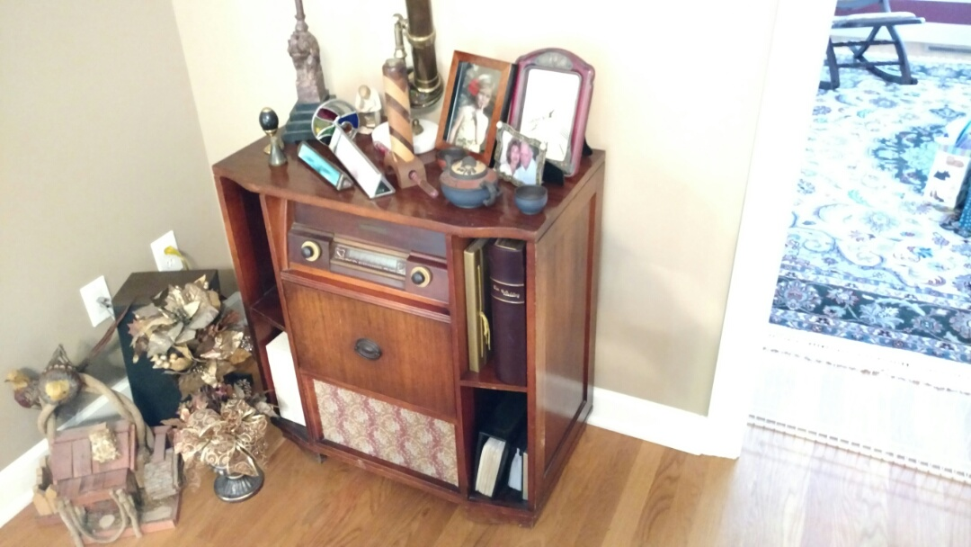Jamestown, NC - Giving free estimate for restoration of several pieces of furniture, one of which is a Westinghouse Radio with turntable.  We are experts at repairing and restoring antique radios, phonographs, televisions, cameras, instruments and collectibles!  We pick-up and deliver in Jamestown and throughout the Triad for our customers.