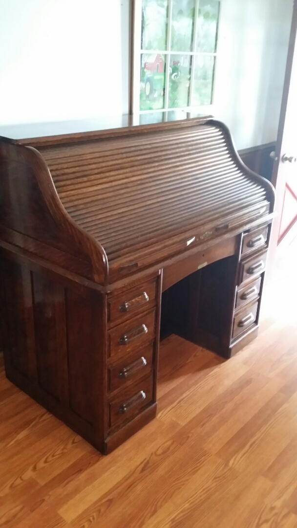 Holly Springs, NC - We did some repairs to the roll top desk door, and gave it a good cleaning.