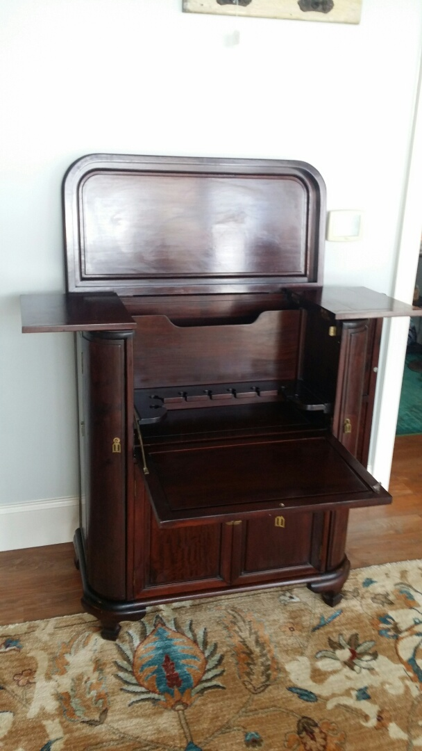 Cary, NC - Complete restoration of this mahogany bar cabinet.