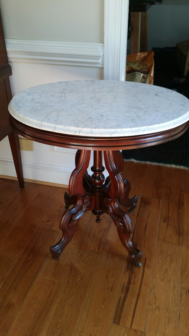 Winston-Salem, NC - Restored the marble and touched up the base to this Eastlake end table.