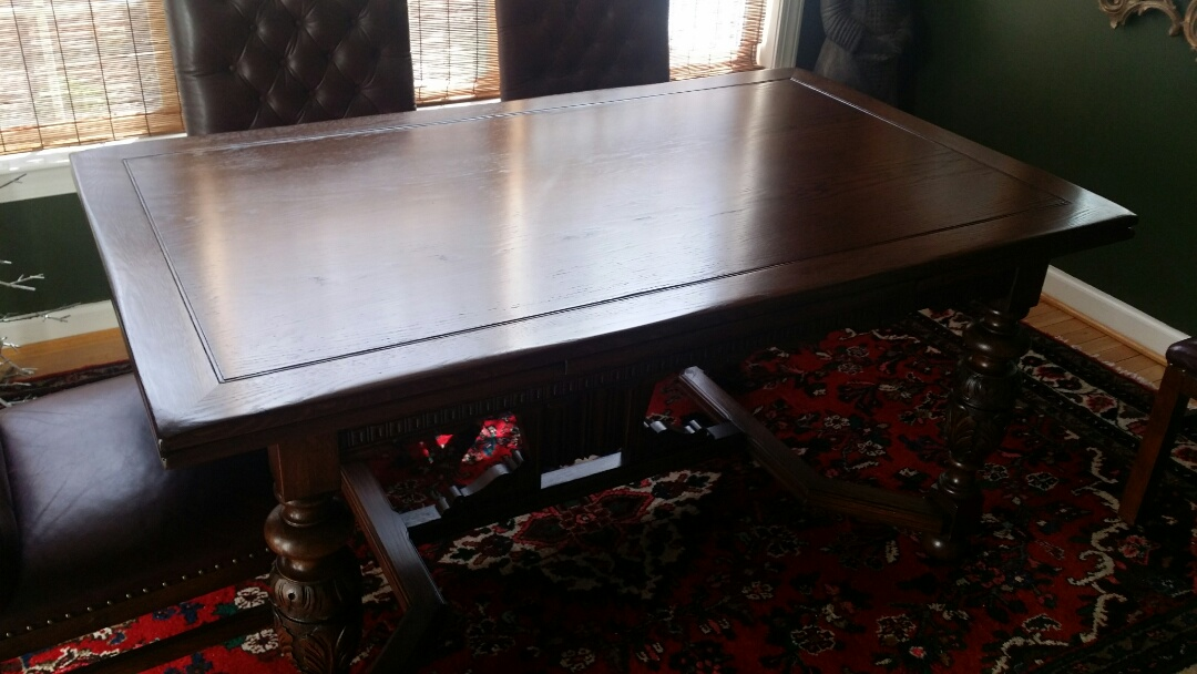 Morrisville, NC - Refinished dining table. table was worn. table refinishing is complete. chairs also need reupholster. complete custom vintage upholstery for chairs.