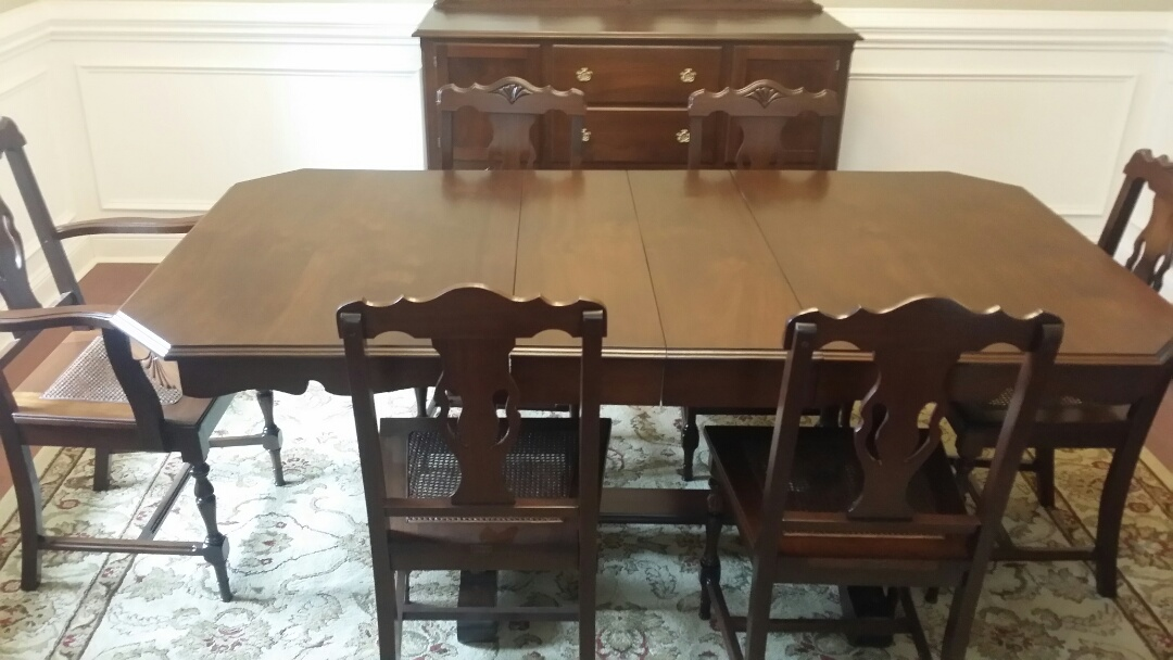 Carthage, NC - Refinished vintage dining set. chairs in need of recane chairs or upholstery repiar. restore antique wood table to new condition and match upholstery to antique couch upholstery