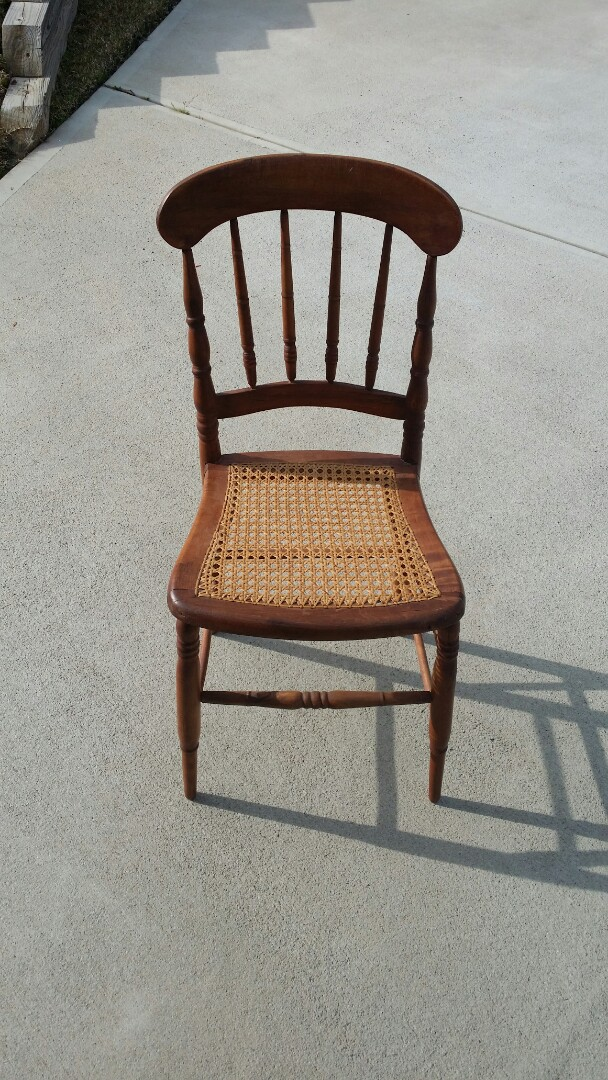 Sanford, NC - Reglue  of dining chair seat in need of repair client does not want custom upholstry cushions. recane antique chair.