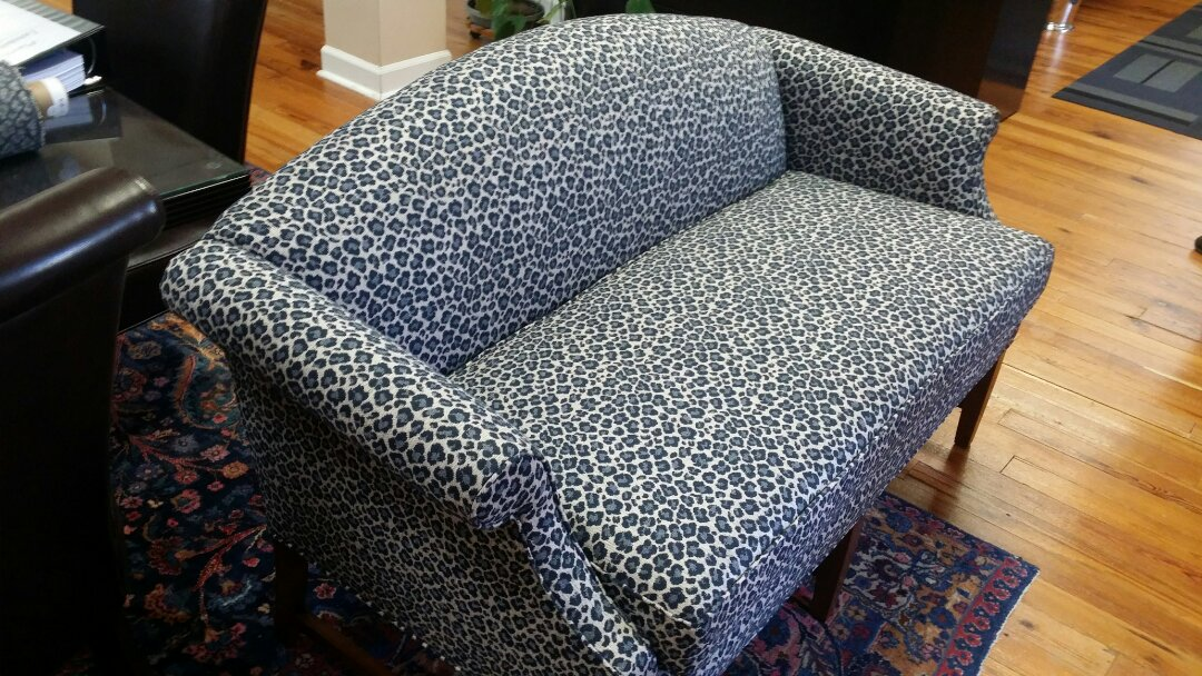 Raleigh, NC - Reupholster satee upholstery damage from time and water. cover antique chair with new fabric and refinish antique sofa. custom vintage furniture cushion made for loveseat