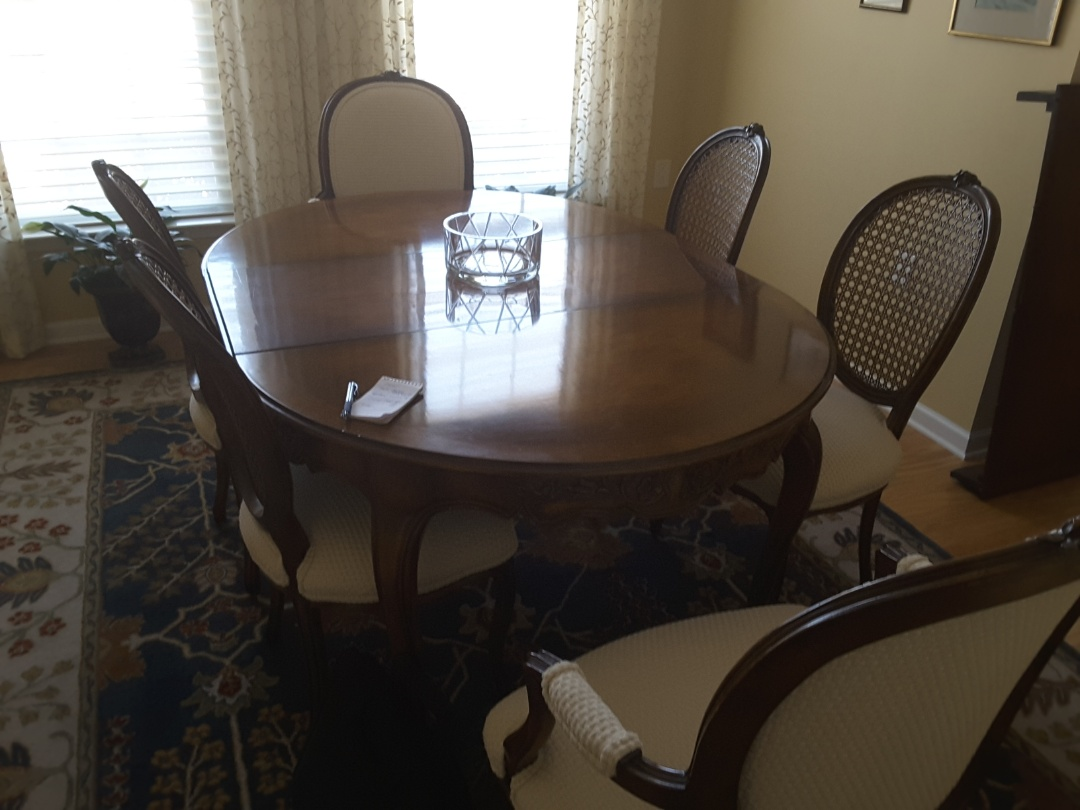 Durham, NC - Vintage dining table and chairs to be repaired, restored and reupholstered. we will reupholster antique chars and recane chair refinish vintage wood table.