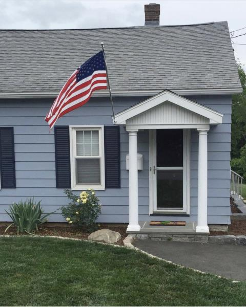 Middletown, CT - Added overhang off front door, 2 new columns and shingled overhang.