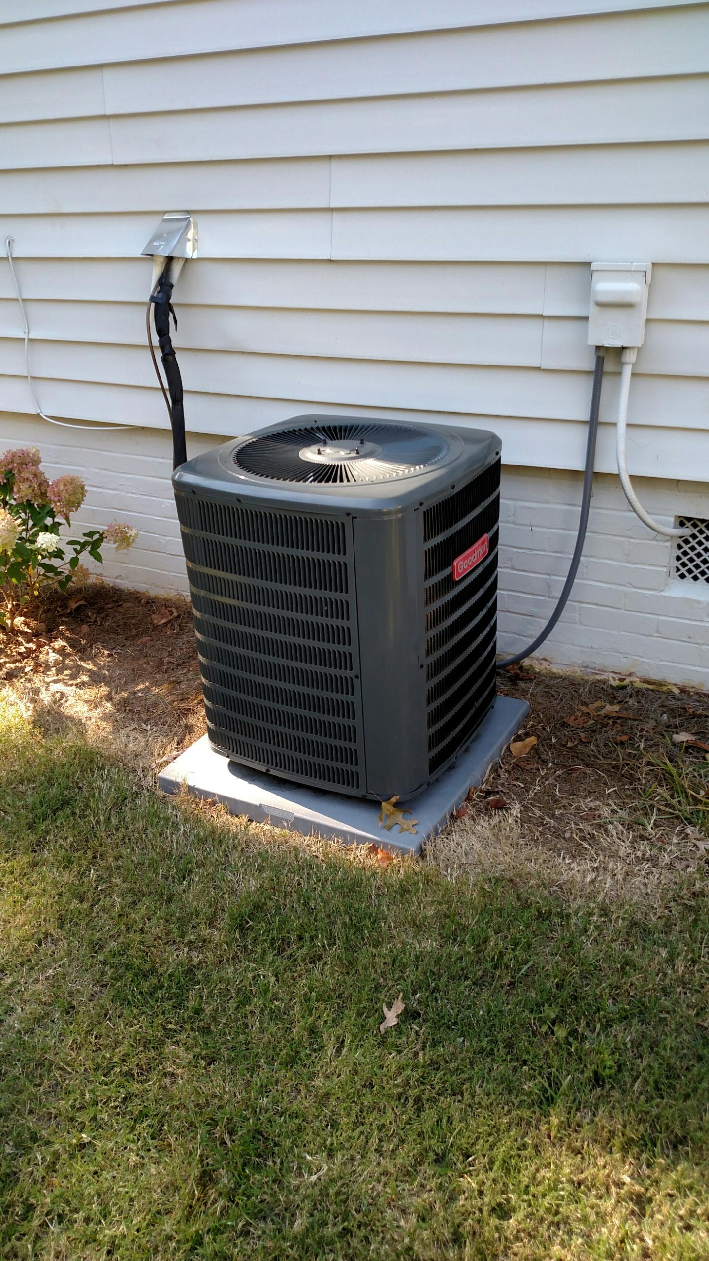 Sugar Hill, GA - Performed a heating check on Goodman heat pump. We are going to add a compressor jacket to help with noise.