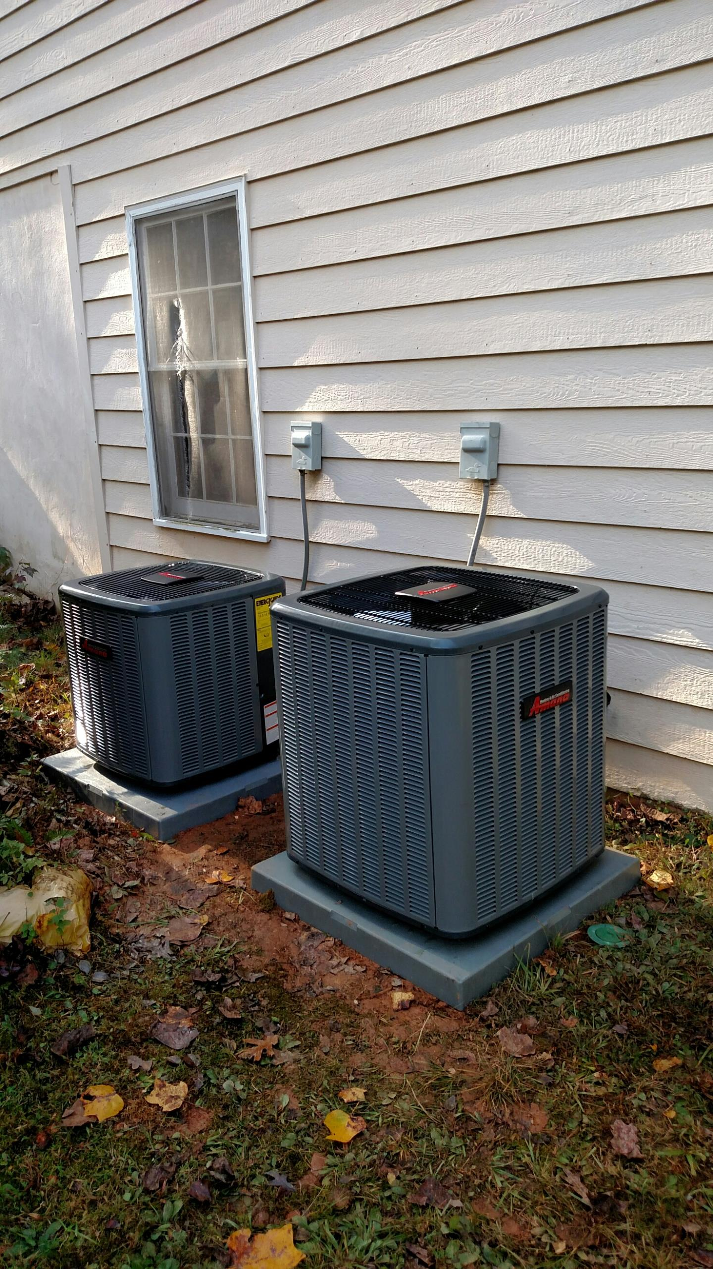 Oakwood, GA - Installed these 2 new Amana air conditioning and heating systems. These new systems have a 10 year all parts warranty and Lifetime heat exchanger warranties.