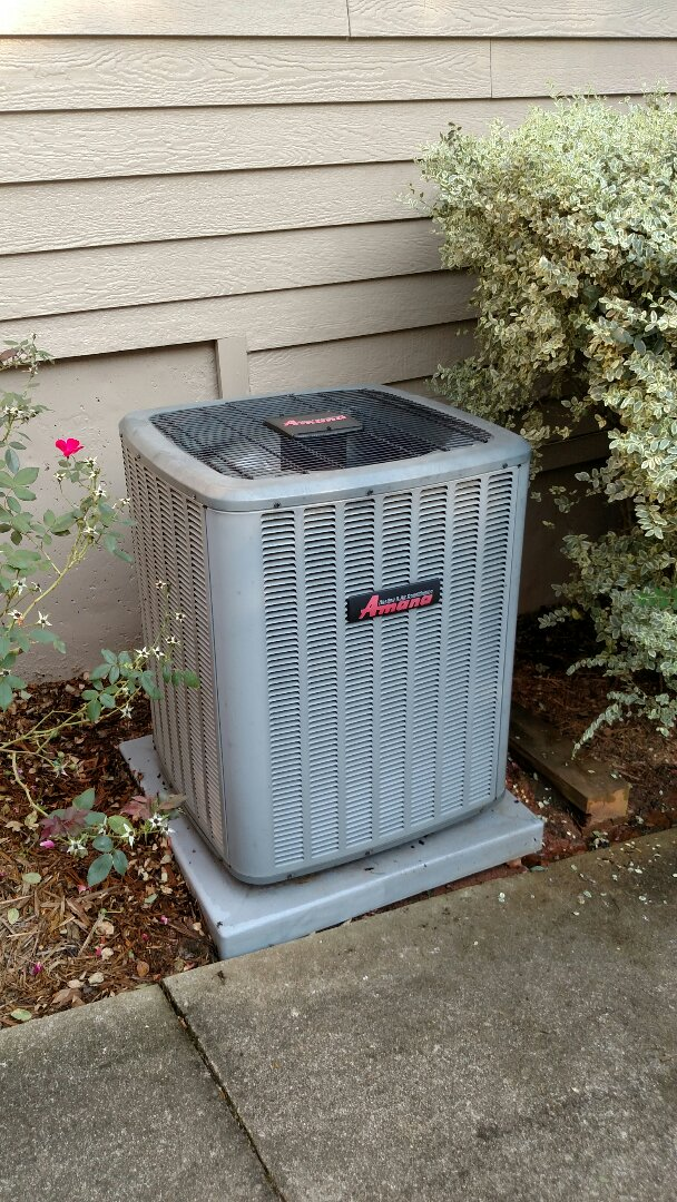 Sugar Hill, GA - Performing cooling maintenance on this 5 year old Amana central heating and cooling system. Changing 20x20x1 pleated filter. Chemical flushing condenser coils. Changing weak dual capacitor under Amana's 10 year warranty.
