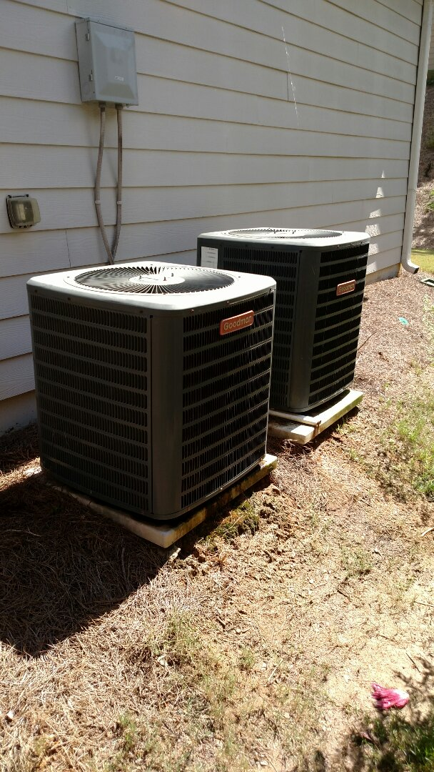 Braselton, GA - Performing heating maintenance on these two Goodman 13 seer heat pump systems. Also replacing 20x20x1 pleated filters. Checking freon readings and testing electrical components. Also testing backup strip heat and defrost cycles.