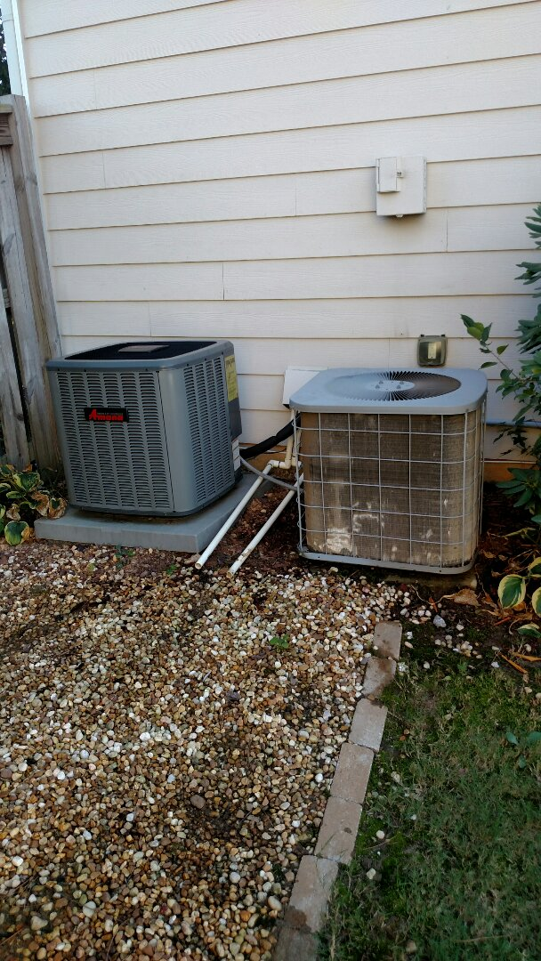 Buford, GA - The Comfortmaker unit on the right is 14 years old and has a freon leak. The only way to fix the leak is to replace the system. We replaced the unit on the left back in 2014. The 2 year old Amana has a 10 year all parts warranty.