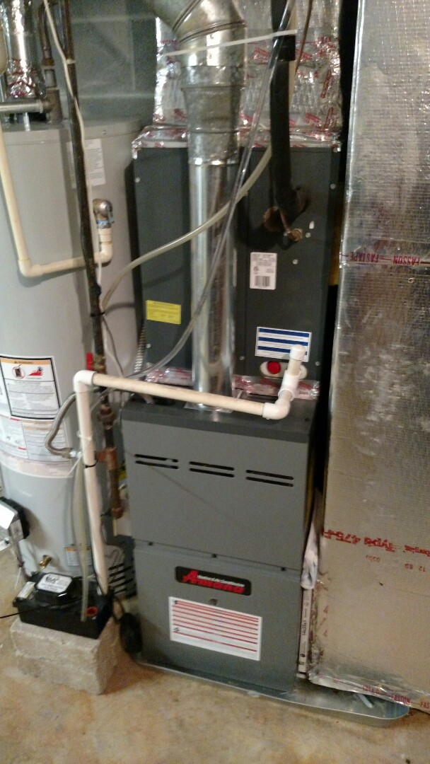 Oakwood, GA - Performing heating maintenance on this 1 year old Amana 2 stage natural gas furnace. Changing 14x25x1 pleated filter.  Looking for a local family owned heating and air conditioning company near you give us a call.