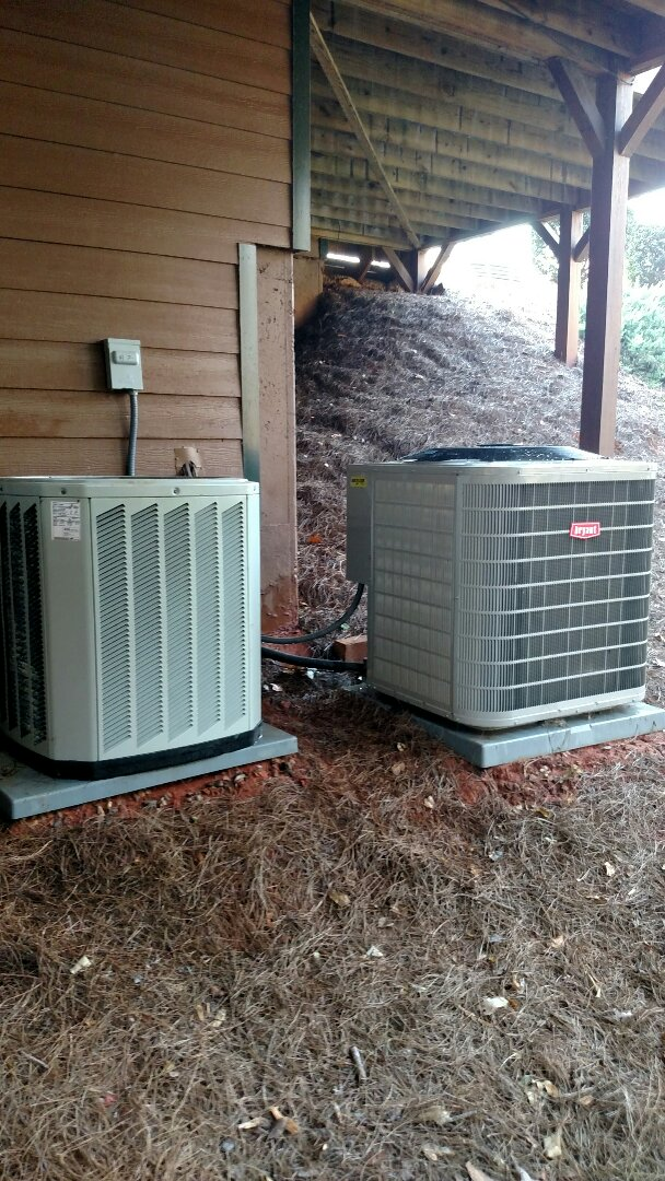 Buford, GA - Performing heating tune ups on these two heat pump systems. One is a Trane and the other is a Bryant. We are a true family owned and operated heating and air conditioning company. We are in or near this area on almost a daily basis.