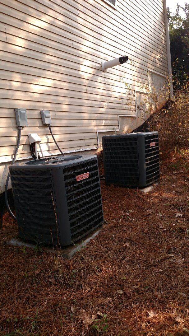 Braselton, GA - Performing heating tune up on these two 9 year old Goodman heat pump systems. Changing 20x25x1 and 16x20x1 pleated filters. Testing defrost cycles and backup stripheat. Checking freon readings and testing electrical components. We are a true family owned and operated heating and air conditioning company. We are in or near this area on almost a daily basis.
