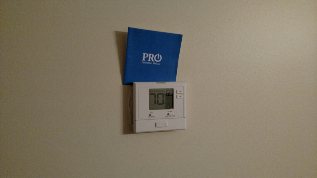 Buford, GA - Adding this new Pro1 thermostat that has a 5 year warranty. The old White Rodgers's was malfunctioning and not turning on the heat. We are a true family owned and operated heating and air conditioning company. We have been servicing the area for over 13 years. You will see the same two technicians Chris and Chad every time. We are a honest and trustworthy business that has your best interest in mind.