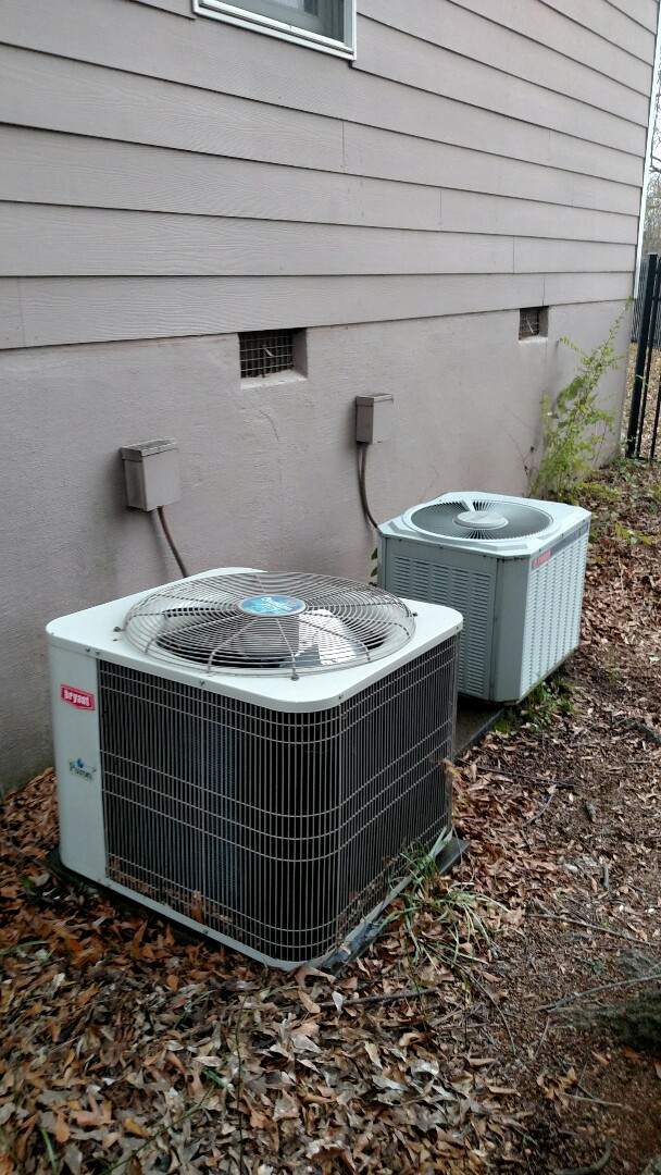 Flowery Branch, GA - Performing cooling maintenance on these two heat pump systems 1 Bryant and 1 Trane. We are local and in or near this area on almost a daily basis. We serve you and your family with honesty and integrity.