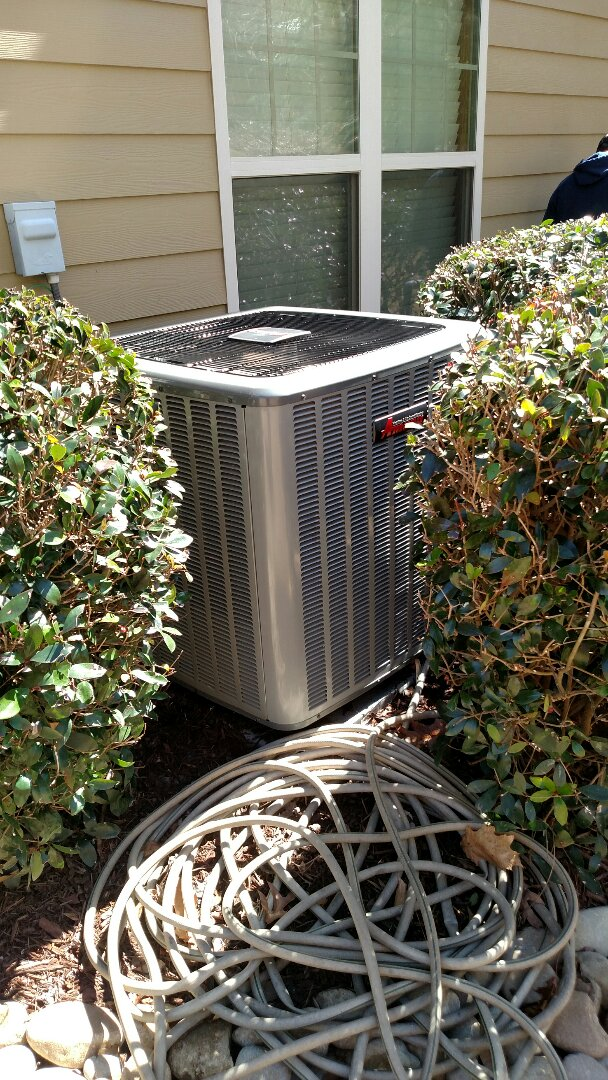 Buford, GA - Performing cooling maintenance on this 2 year old 14 seer Amana 97% efficient natural gas furnace with variable speed central heating and cooling system that we installed back in 2015. We are local and in or near this area on a daily basis. We service all brands like Carrier Bryant Lennox Comfortmaker Nordyne Tappan Westinghouse Trane American standard Ruud Rheem Heil Amana Goodman Daikin GMC Whirlpool weather king