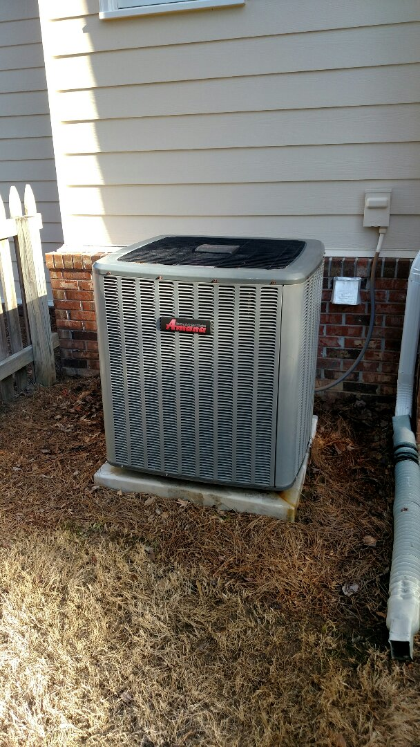 Flowery Branch, GA - Performing cooling maintenance on this 18 seer Amana air conditioner with 95% efficient natural gas furnace with variable speed. We are local and in or near this area on a daily basis. We service all brands like Carrier Bryant Lennox Comfortmaker Nordyne Tappan Westinghouse Trane American standard Ruud Rheem Heil Amana Goodman Daikin GMC Whirlpool weather king. We serve you and your family with honesty and integrity.