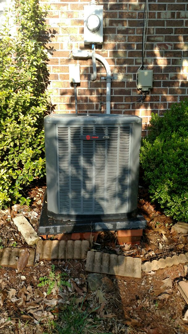 Oakwood, GA - Performing cooling maintenance on this 11 year old Trane 13 seer central heating and cooling system that we installed back in 2006. We are local and in or near this area on a daily basis. We have been servicing the area for over 14 years. We serve you and your family with honesty and integrity. We service all brands like Carrier Bryant Lennox Comfortmaker Nordyne Tappan Westinghouse Trane American standard Ruud Rheem Heil Amana Goodman Daikin GMC Whirlpool weather king.