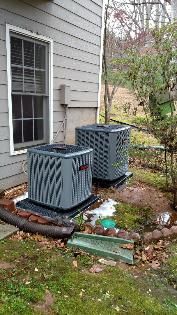 Flowery Branch, GA - Performing cooling maintenance on these two 2 year old Amana 14 seer central heating and cooling systems that we installed back in 2015. We are local and in or near this area on a daily basis. We stand behind our product and labor. We service all brands like Carrier Bryant Lennox Comfortmaker Nordyne Tappan Westinghouse Trane American standard Ruud Rheem Heil Amana Goodman Daikin GMC Whirlpool weather king. We serve you and your family with honesty and integrity.