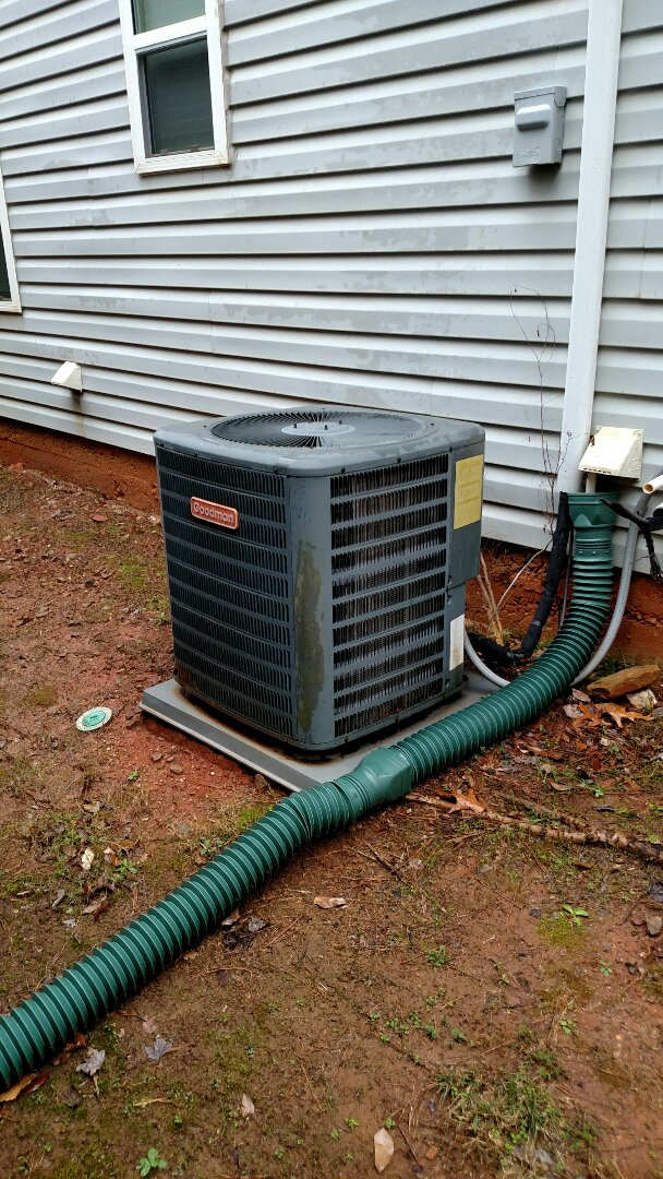 Braselton, GA - Performing cooling maintenance on this 10 year old 13 seer 3.5 ton Goodman heat pump system. Changing 20x25x1 pleated filter and treated it with Webb filter charger. Chemical flushing condenser coils and checking freon readings. We are local and in or near this area on a daily basis. We service all brands like Carrier Bryant Lennox Comfortmaker Nordyne Tappan Westinghouse Trane American standard Ruud Rheem Heil Amana Goodman Daikin GMC Whirlpool weather king. Residential heating and cooling