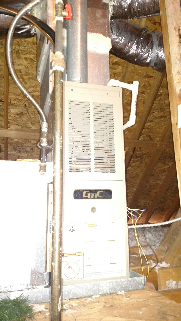 Buford, GA - Performing heating repair on this 15 year old GMC 80% natural gas furnace. We are local and in or near this area on a daily basis. We service all brands like Carrier Bryant Lennox Comfortmaker Nordyne Tappan Westinghouse Trane American standard Ruud Rheem Heil Amana Goodman Daikin GMC Whirlpool weather king. We serve you and your family with honesty and integrity. We are a true family owned and operated heating and air conditioning company.