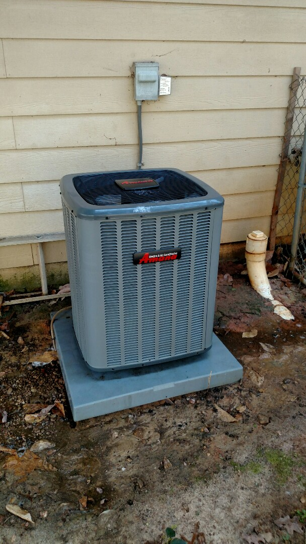 Flowery Branch, GA - Performing cooling maintenance on this 3 year old Amana 13 seer central heat pump system. Changing 16x20x1 pleated filter. We service all brands like Carrier Bryant Lennox Comfortmaker Nordyne Tappan Westinghouse Trane American standard Ruud Rheem Heil Amana Goodman Daikin GMC Whirlpool weather king. We are local and in or near this area on a daily basis. We serve you and your family with honesty and integrity. We are one of the best heating and air conditioning providers in the area.