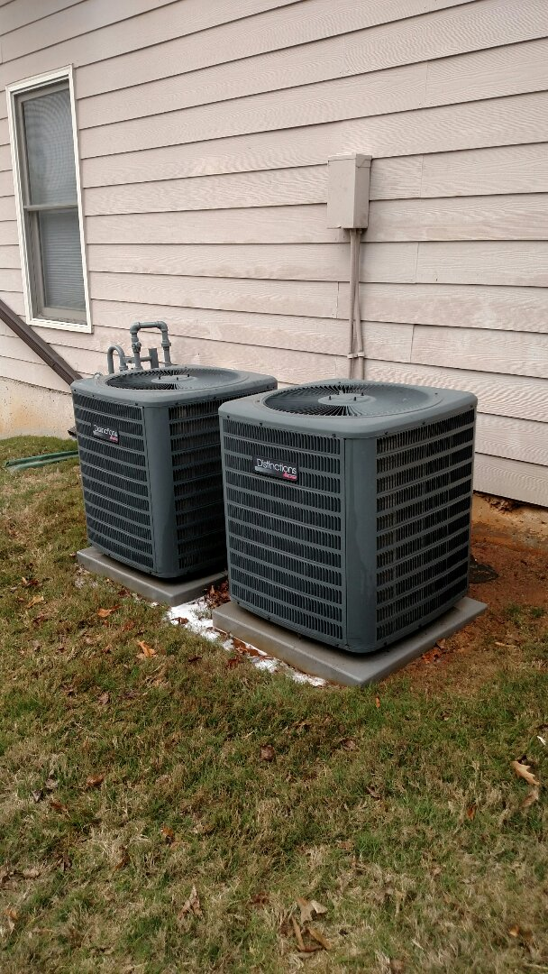 """Flowery Branch, GA - Performing cooling maintenance on these two 14 seer Amana central heating and cooling systems that we installed back in 2012. We have been doing the maintenance on these since new. Checked 5"""" thick media air filters. We are local and in or near this area on a daily basis. We have been servicing the area for over 14 years. We serve you and your family with honesty and integrity. We service all brands like Carrier Bryant Lennox Comfortmaker Nordyne Tappan Westinghouse Trane American standard Ruud"""