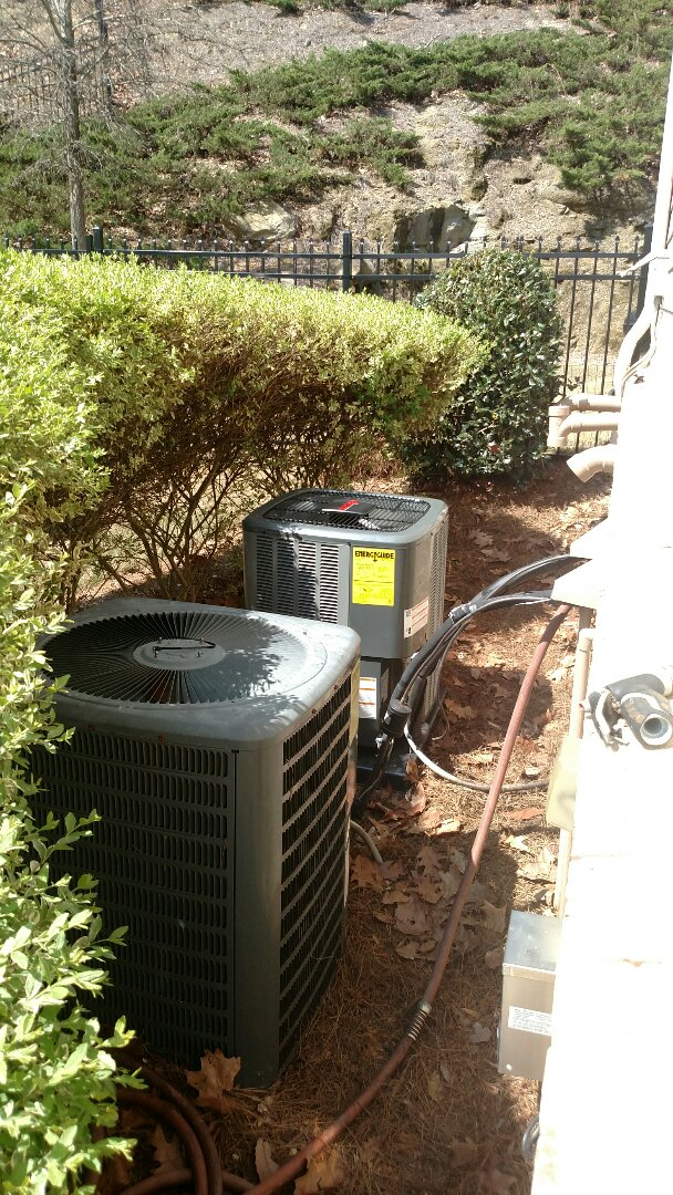 Flowery Branch, GA - Installing this new 14 seer Amana central air conditioner next to this 10 year old Goodman central air conditioner. We are local and in or near this area on a daily basis. We service all brands like Carrier Bryant Lennox Comfortmaker Nordyne Tappan Westinghouse Trane American standard Ruud Rheem Heil Amana Goodman Daikin GMC Whirlpool weather king. We serve you and your family with honesty and integrity. The best in Hall County area.