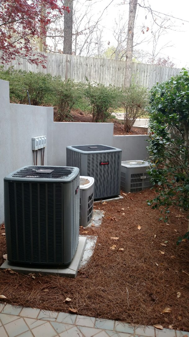 Gainesville, GA - Performing cooling maintenance on these 4 central heating and air conditioning systems. Replacing faulty thermostat on master bedroom unit. We are local and in or near this area on a daily basis. We have been servicing the area for over 14 years. We serve you and your family with honesty and. We service all brands like Carrier Bryant Lennox Comfortmaker Nordyne Tappan Westinghouse Trane American standard Ruud Rheem Heil Amana Goodman Daikin GMC Whirlpool weather king.