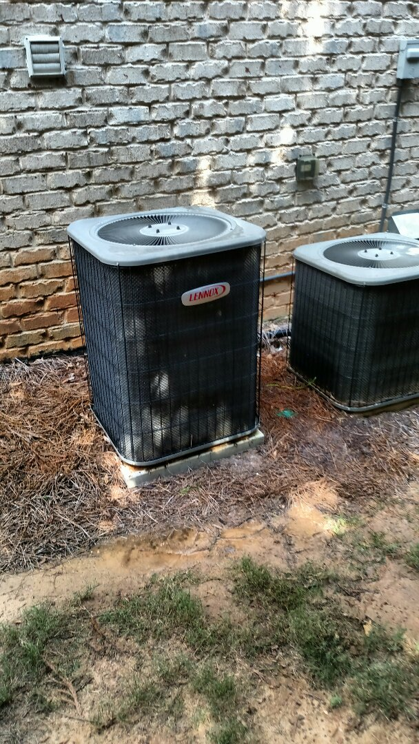 Braselton, GA - Performing cooling check on this 9 year old Lennox central heating and air conditioning system. Replacing weak voltage absorption system. Chemical cleaning heat transfer media. We service all brands like Carrier Bryant Lennox Comfortmaker Nordyne Tappan Westinghouse Trane American standard Ruud Rheem Heil Amana Goodman Daikin GMC Whirlpool weather king. We are family owned and operated and you will see the same two technicians Chris and Chad every visit. We serve our customers with honesty.