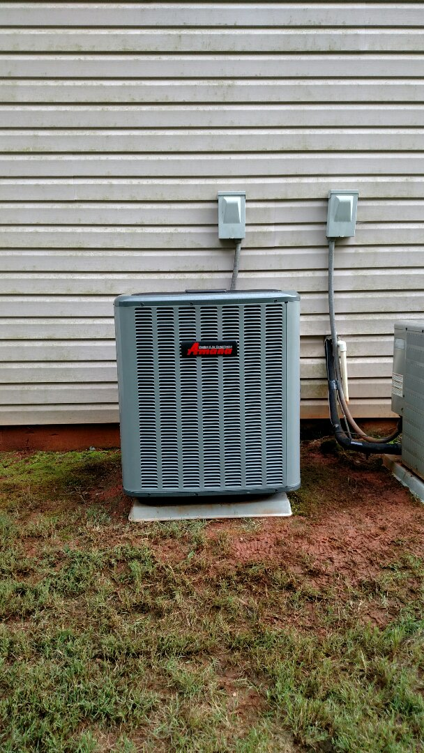 Braselton, GA - Installing this 16 seer Amana central heating and air conditioning system. System has a lifetime compressor warranty. We service all brands like Carrier Bryant Lennox Comfortmaker Nordyne Tappan Westinghouse Trane American standard Ruud Rheem Heil Amana Goodman Daikin GMC Whirlpool weather king. We are local and in or near this area on a daily basis. We serve our customers with honesty and integrity.