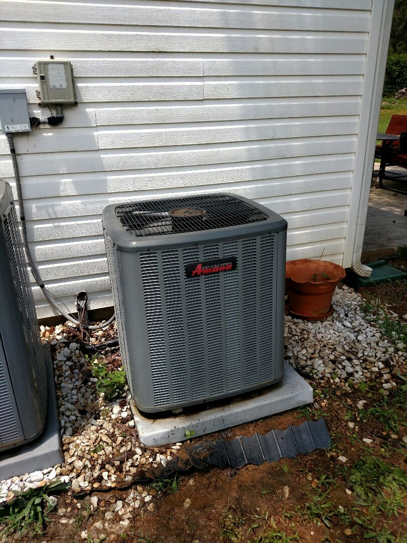 Flowery Branch, GA - Performing warranty work on this 9 year old Amana central heat pump system that we installed. We service all brands like Carrier Bryant Lennox Comfortmaker Nordyne Tappan Westinghouse Trane American standard Ruud Rheem Heil Amana Goodman Daikin GMC Whirlpool weather king Tempstar. We are local and in or near this area on a daily basis. We serve you and your family with honesty and integrity. One of the best servicing the Hall County area.