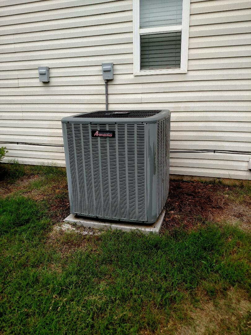 Braselton, GA - Performing cooling maintenance on this 8 year old Amana 15 seer central heat pump system that we installed back in 2009. We service all brands like Carrier Bryant Lennox Comfortmaker Nordyne Tappan Westinghouse Trane American standard Ruud Rheem Heil Amana Goodman Daikin GMC Whirlpool weather king Tempstar. Local and in or near this area on a daily basis. You will see the same two technicians Chris and Chad every time. We serve you and your family with honesty and integrity. Great online reviews