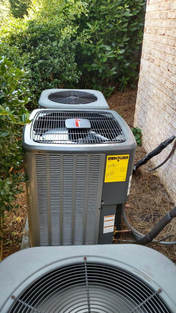 Flowery Branch, GA - Finishing installing this New 14 seer 2 ton Amana heat pump system that's in the basement. Top quality installation performed by Chris and Chad. We are an Amana and Goodman equipment dealer. We service all brands like Carrier Bryant Lennox Comfortmaker Nordyne Tappan Westinghouse Trane American standard Ruud Rheem Heil Amana Goodman Daikin GMC Whirlpool weather king Tempstar Armstrong Coleman. Locally owned and operated since 2003.