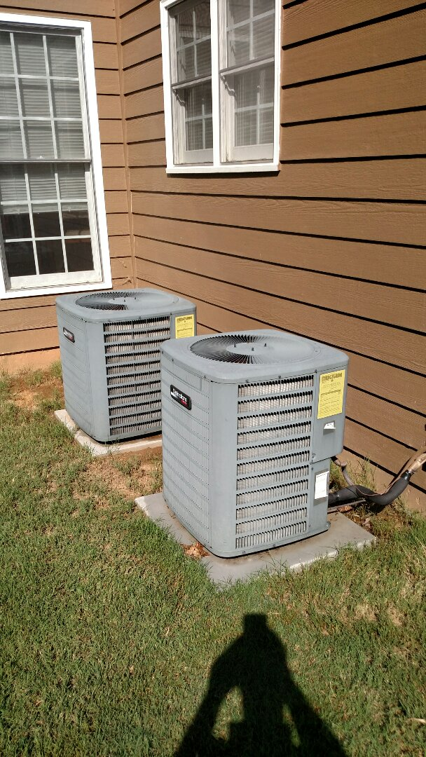 Gainesville, GA - Performing cooling maintenance on these two 6 year old Amana central heating and air conditioning systems that we installed back in 2011. We are local and in or near this area on a daily basis. We serve you and your family with honesty and integrity. Great service and reviews. You see the same two technicians Chris and Chad every time.