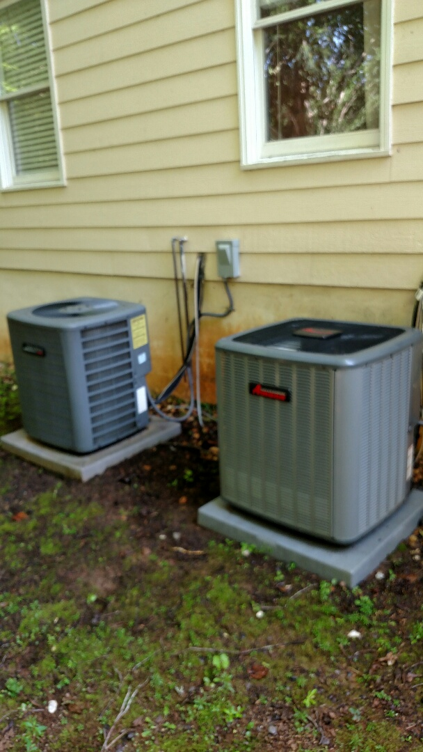 Gainesville, GA - Performing cooling maintenance on these two Amana central heating and cooling systems. Changing filters and testing cooling cycles. We are local and in or near this area on a daily basis. We serve our customers with honesty and integrity. Check out our website and great reviews.
