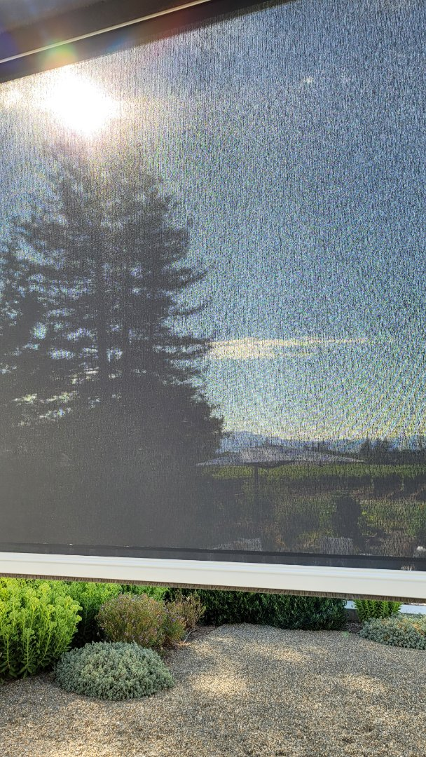 Napa, CA - Look how well this Soltis fabric, 4% openness, is doing against that ball of fire in the sky. It's cooled down to 93 degrees, but when we dropped it, while working behind it, Wow! how much cooler it felt!