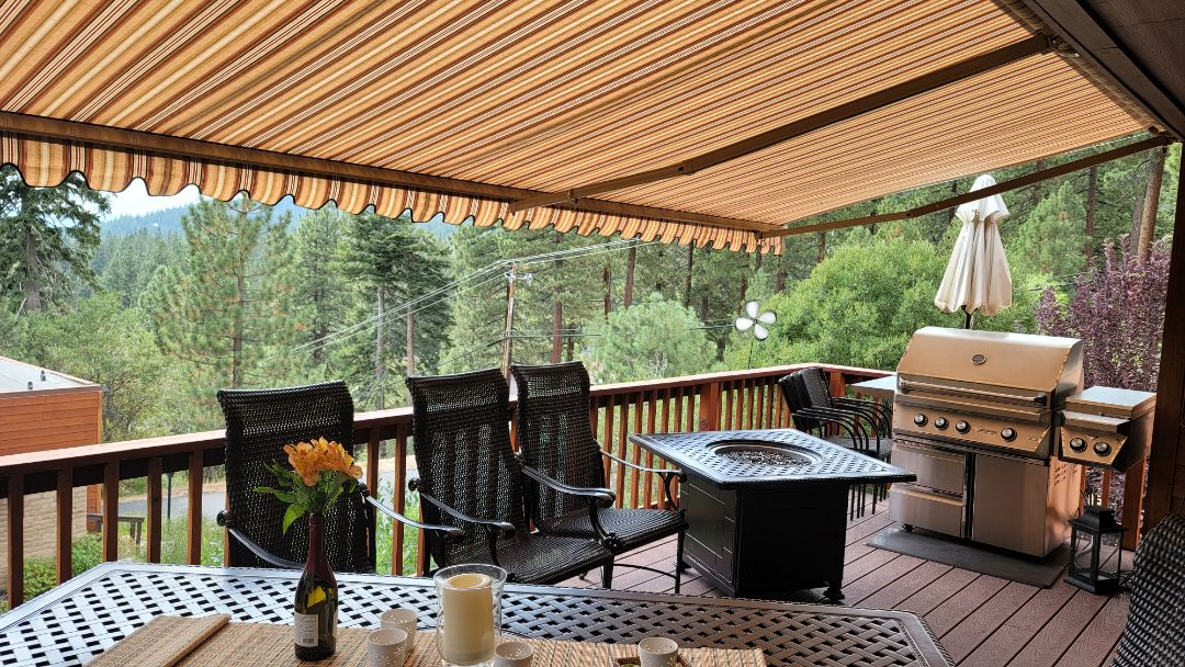 Incline Village, NV - Incline Village at Lake Tahoe is always a great place to spend a summer afternoon.  Here is a Sunesta Retractable Awning,  the Sunlight model that is 22' wide x 8.3' projection. Shade on the deck with a beautiful view, is always more enjoyable under a Sunesta Retractable Awning from Awning Pros!