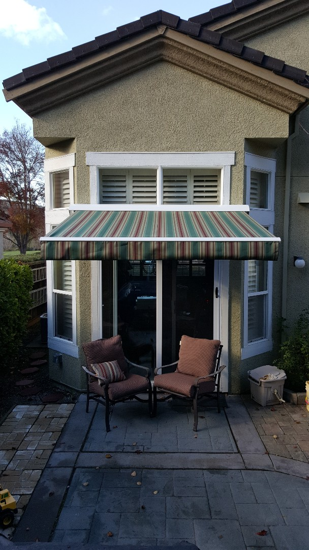 San Lorenzo, CA - Awning cleaning for Sunesta Retractable Awning. Our customer gets her Awning cleaned every year.  The fabric will last much longer when kept clean