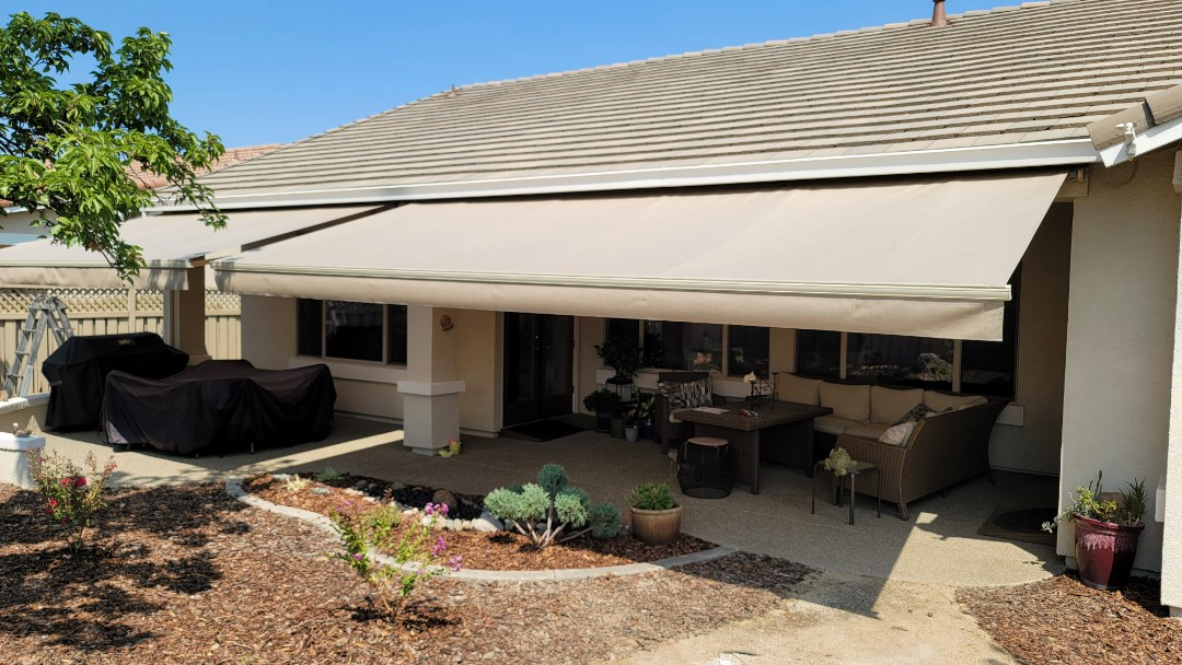 Lincoln, CA - Fabric recovers chosen from Sattler, installed on Sunesta Retractable Awnings that were originally installed 19 years ago. Awnings were still in great shape. The Somfy motors were still working great. They just needed new fabric which Awning Pros Inc  was happy to help with.