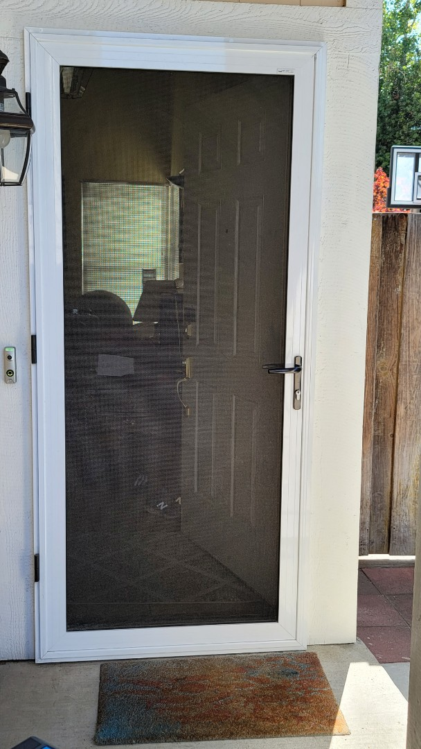 Alameda, CA - Service call for a Security door, Awning Pros installed 5 years ago.one little, internal, tiny allen screw had come loose over time a fell off inside the door, causing it not to operate correctly.  It is important to find out if a company that you buy a product from , has been around for a number of years and will continue to be a successful business so they can come, even on the weekend to resolve a problem.  This door could not open until we identified the problem and fixed it the same day.