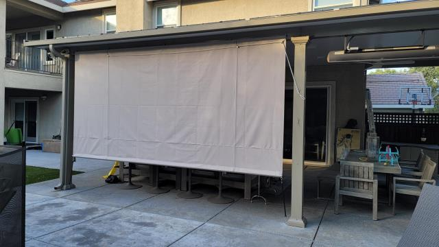 El Dorado Hills, CA - Installed another Roll Curtain to block the west side of their Patio Cover