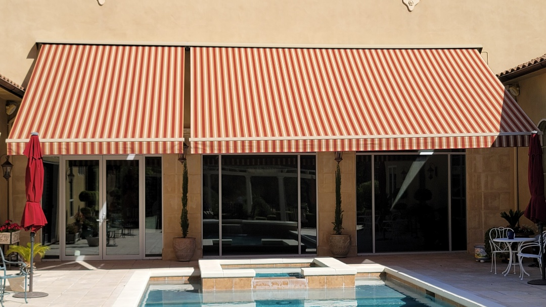 Granite Bay, CA - 34' of Sunesta Retractable Awnings on this Granite Bay home. They also have motorized 5' drop screens, that drop from the front bar of the awnings. When that sun drops in the sky late in the afternoon,  you still have shade.