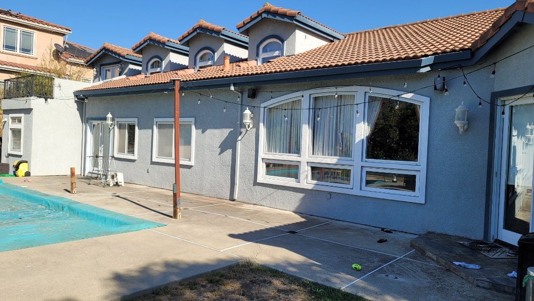 Hayward, CA - This west facing patio will have 3 Sunesta Retractable Awnings  installed, all with the 5' manual drop screens .